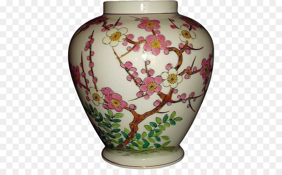 Vase Ceramic Porcelain Japan Urn Hand Painted Flowers Decorated
