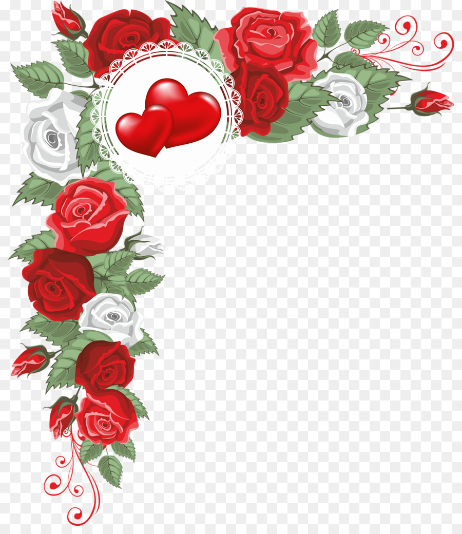 Hearts and Flowers Border - border material png download - 870*1024 - Free Transparent Hearts And Flowers Border png Download.