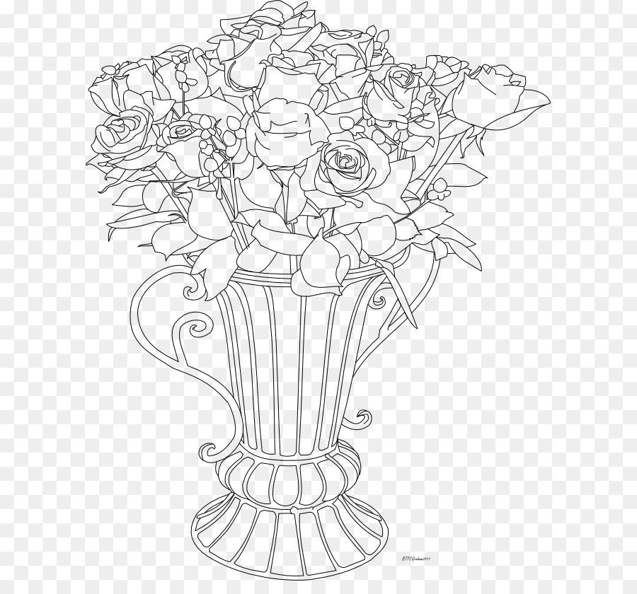 Drawing Flowerpot Vase Art Sketch Rose Flower Pots Png Download