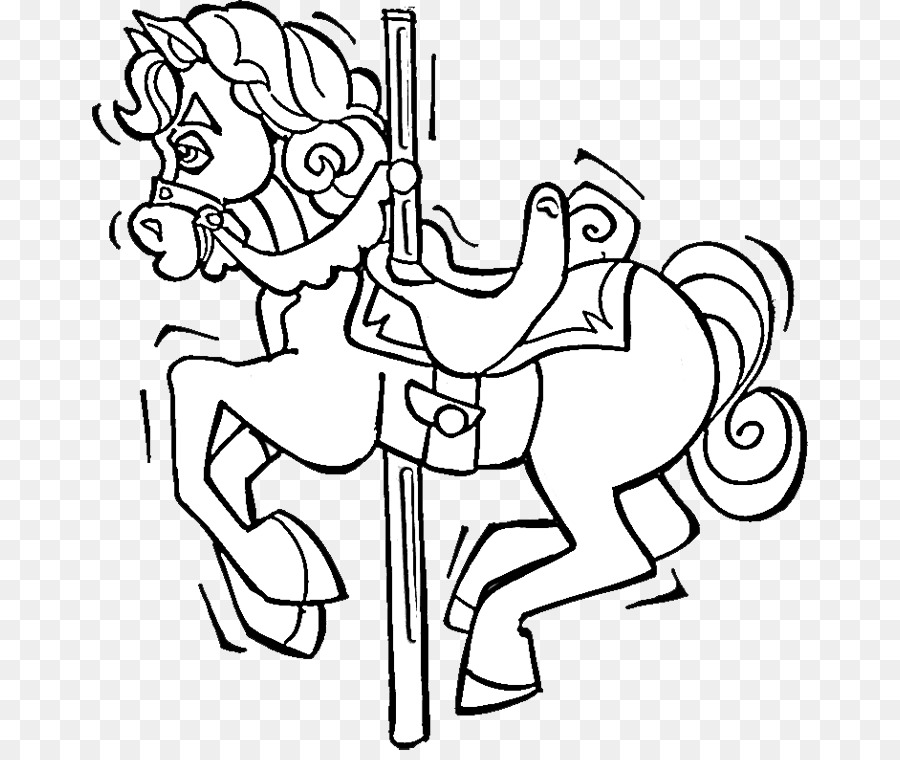 Coloring Book Carousel Drawing Horse Adult