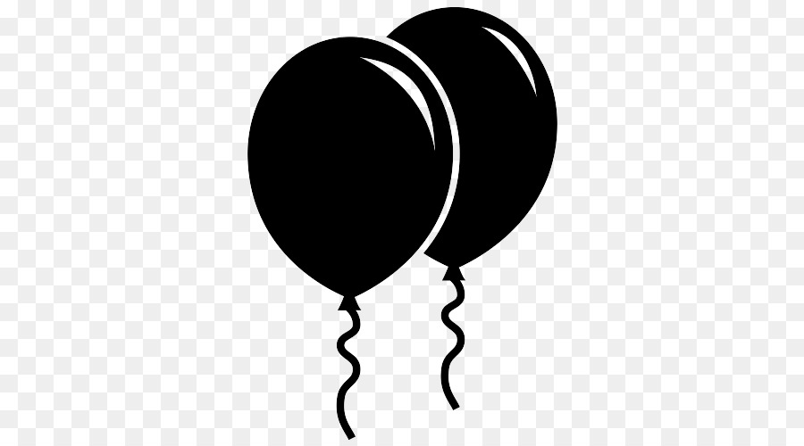 Balloon silhouette. Black and white png