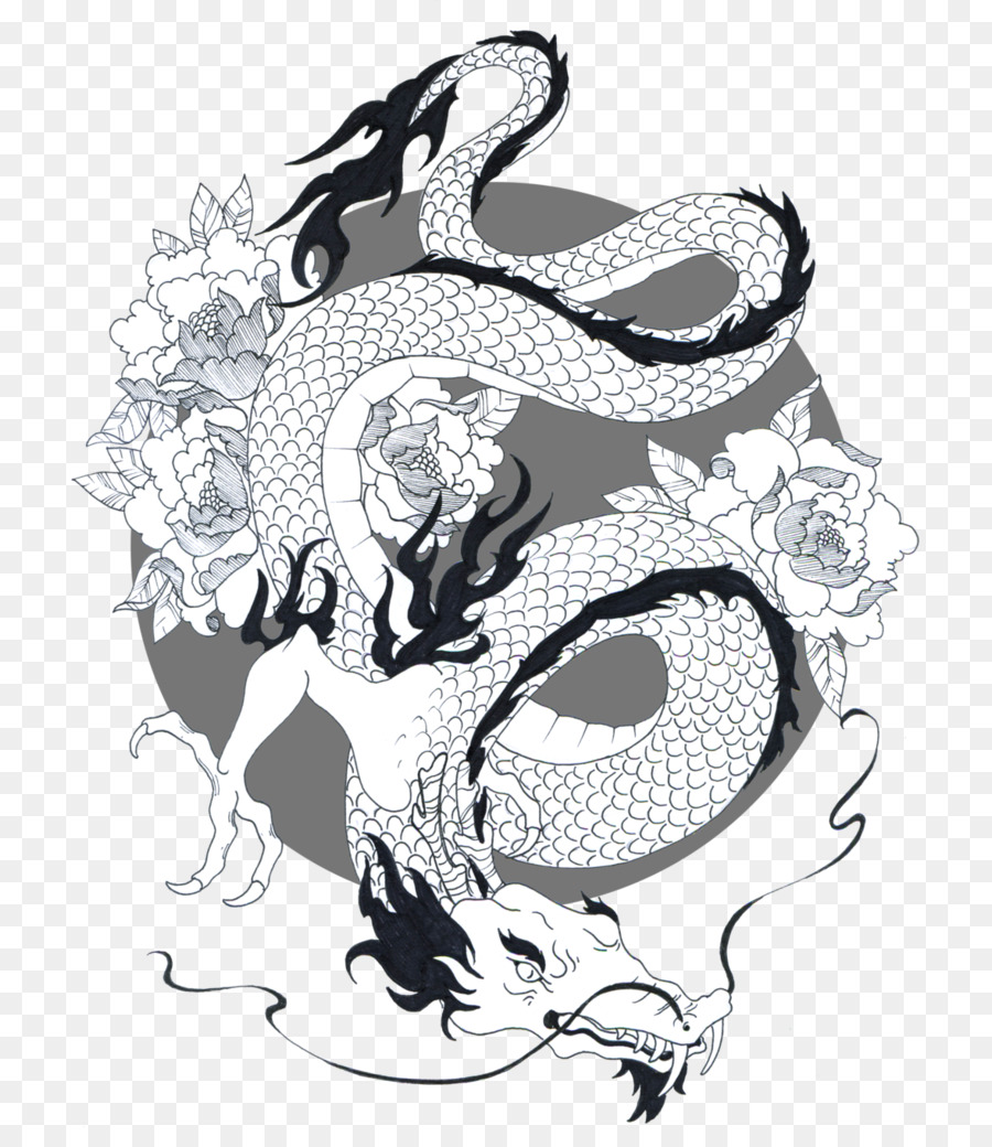drawing japanese dragon chinese dragon simple black and white