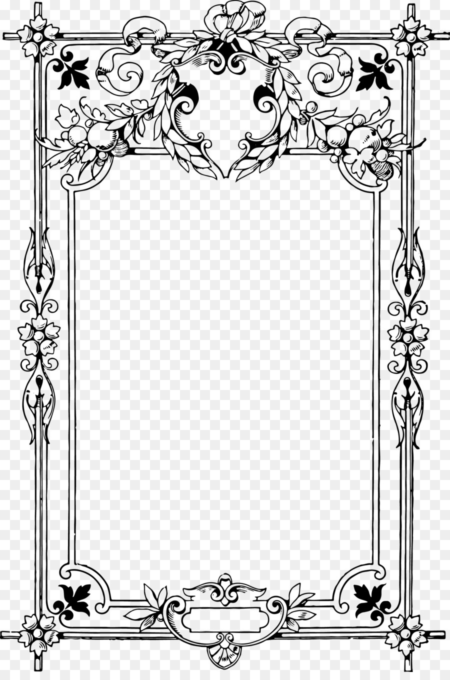 Borders and Frames Coloring book Child Clip art - vintage frame ...