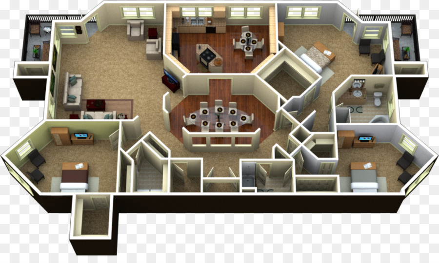 3D Floor Plan Penthouse Apartment   3d Model Home