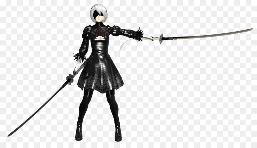 Nier Otomatik Silah Katana Samuray Kılıcı Siyah Ve Beyaz Kurt