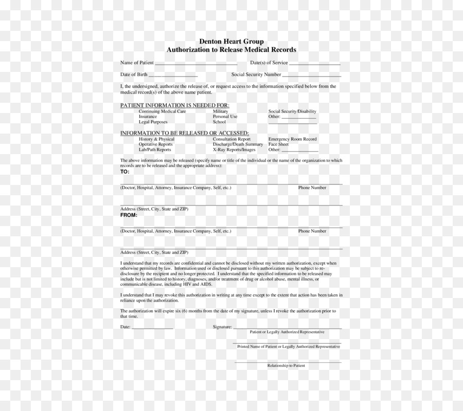 Medical Record Release Of Information Department Medicine Template