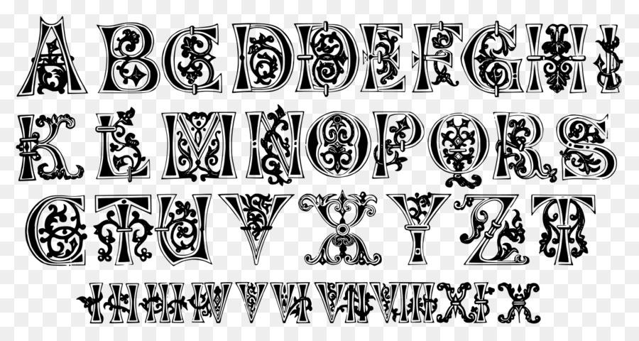 middle ages illuminated manuscript alphabet letter ornament