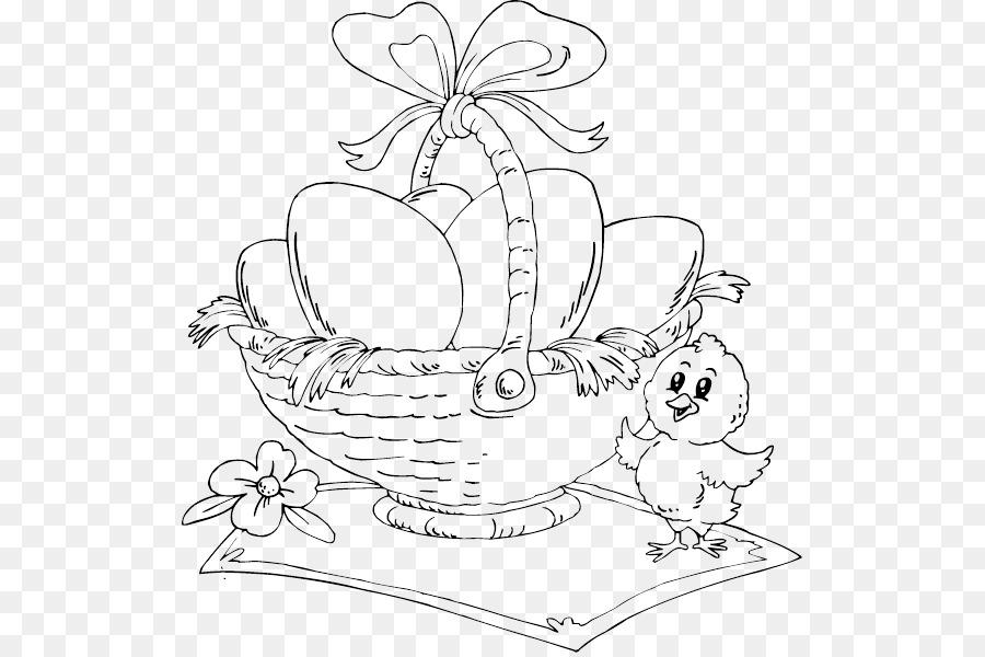 Conejito De Pascua Huevo De Pascua Para Colorear Libro Canasta De