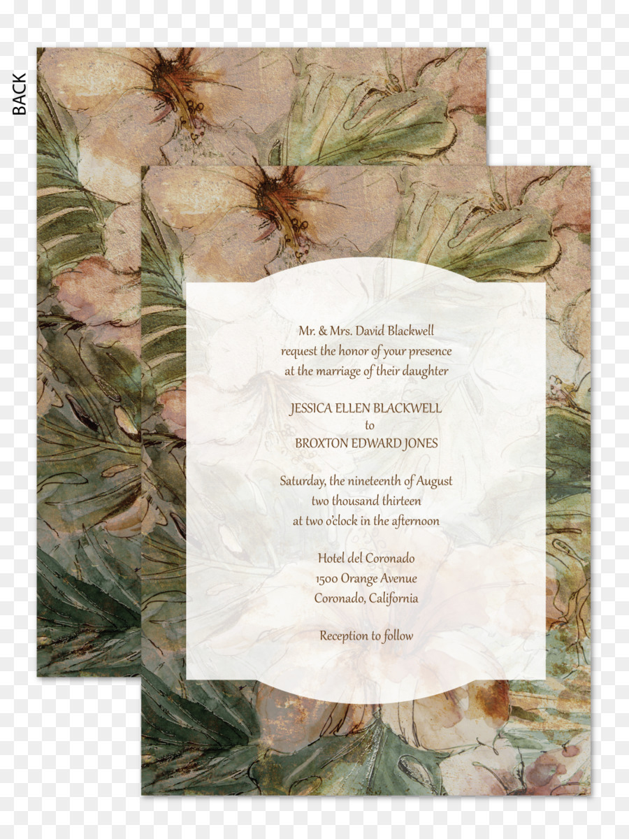 Wedding invitation Flower Petal Tree - 2018 wedding card watercolor ...
