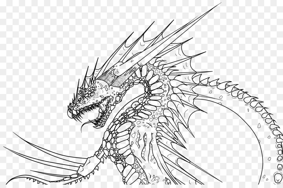 Line Art Dragon Drawing Sketch Fire Lines Png Download 900589