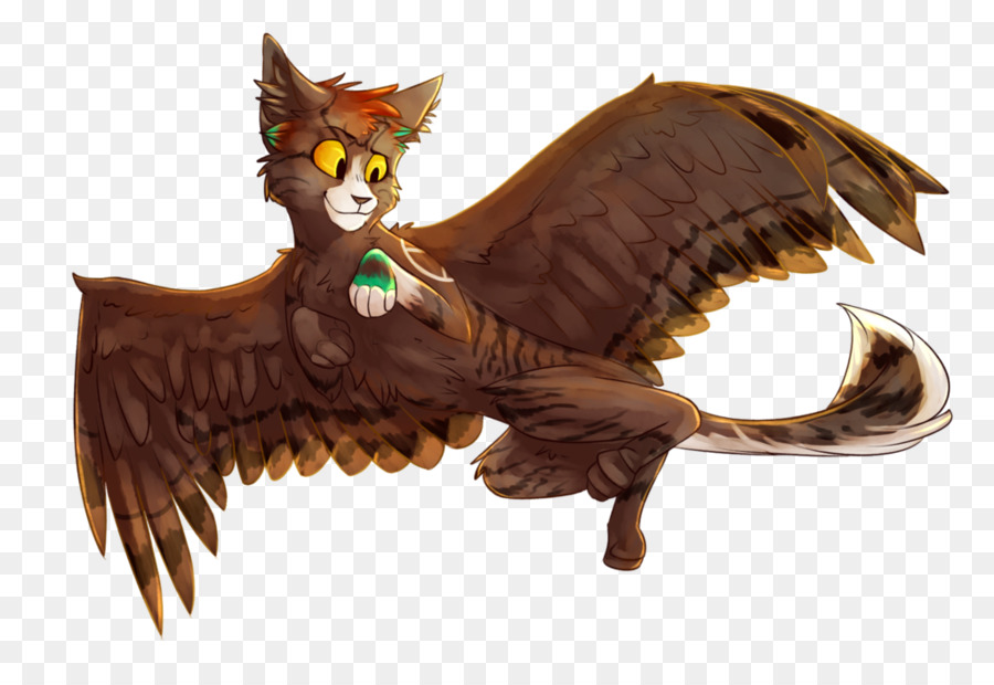 Winged cat Bird Drawing - flying wings