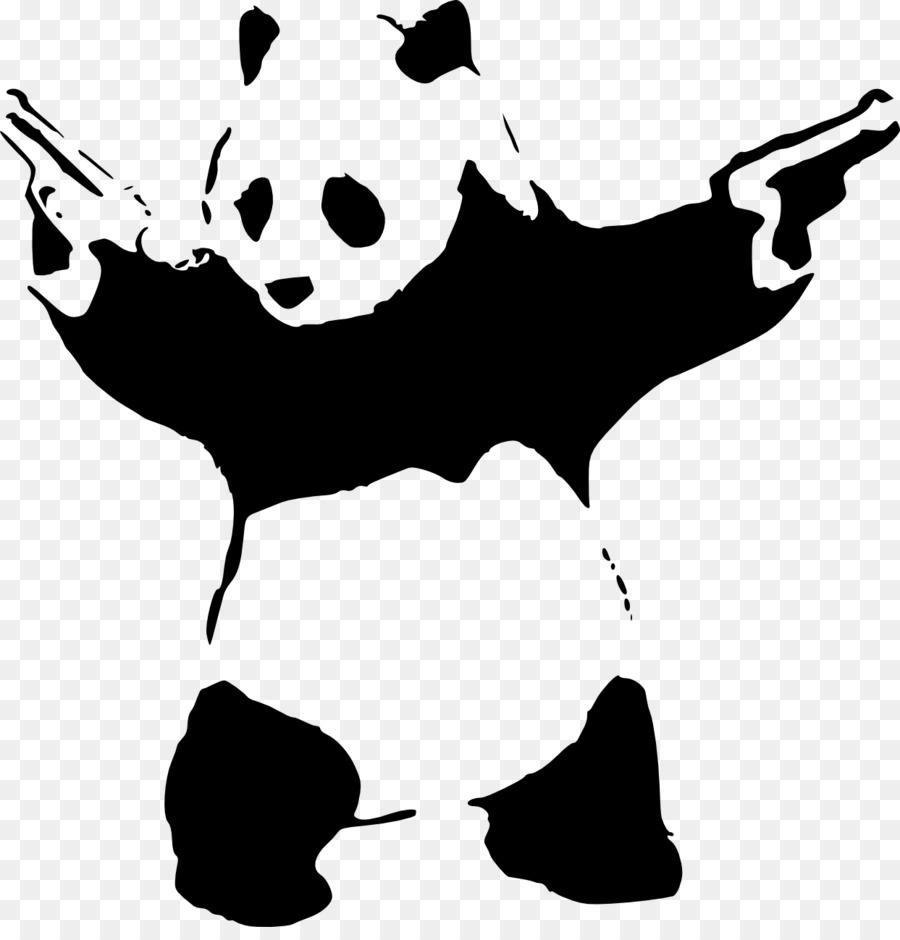 giant panda stencil graffiti, sticker wandtattoo - schablone png