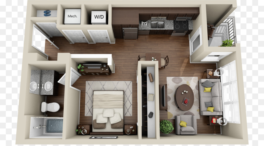Studio apartment House plan 3D floor plan - products renderings png ...
