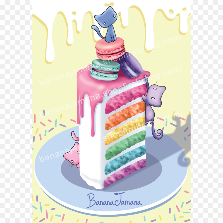 Birthday Cake Torte Rainbow Cookie Frosting Icing Cake Poster