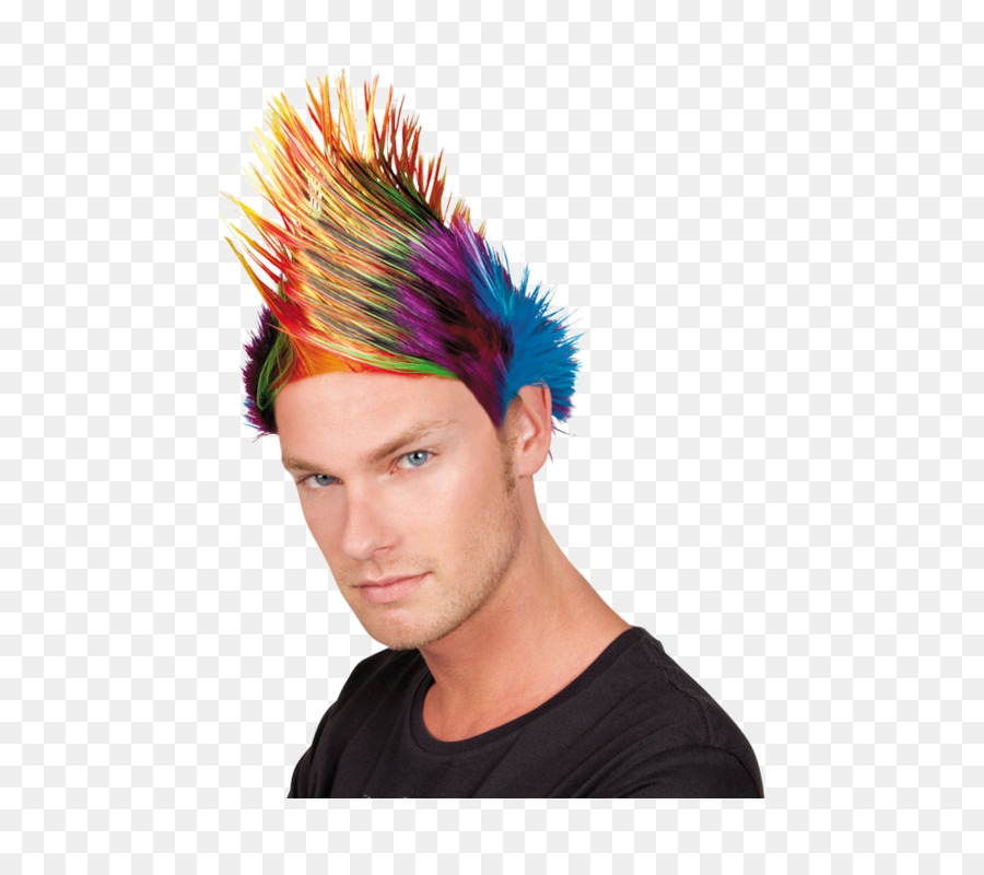 Mohawk hairstyle Punk rock Wig - Mohawk png download - 500*793 ...
