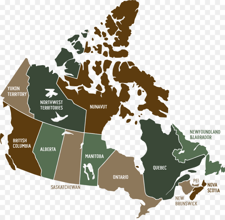 Provinces and territories of Canada United States Vector Map - green ...