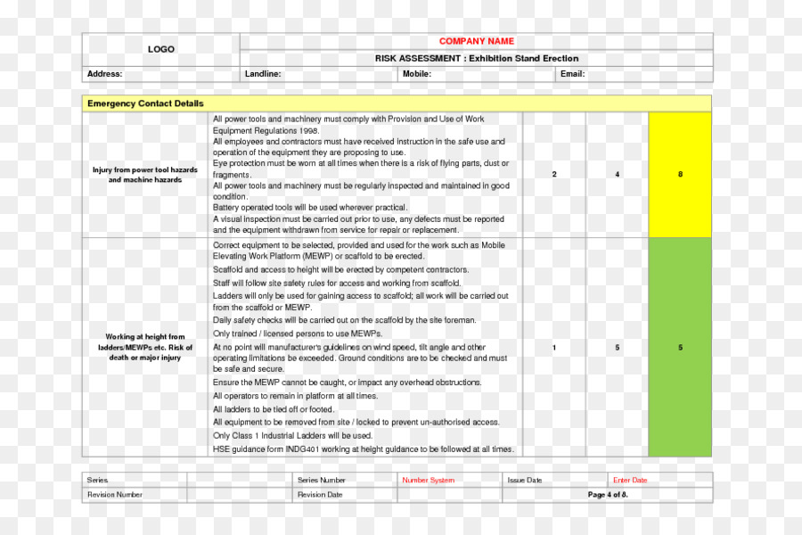 Risk Assessment Document Template Contract Going Away Png Download