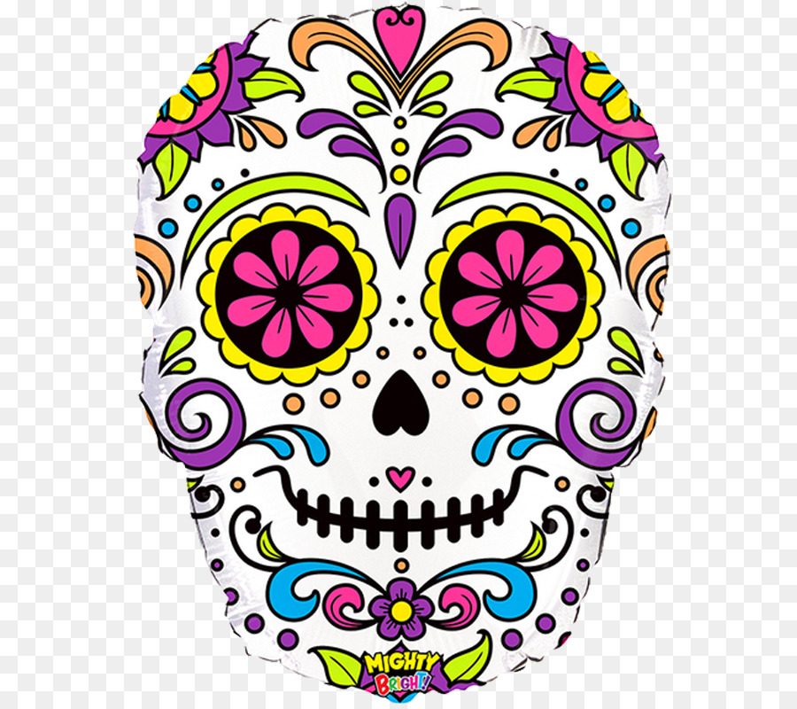 Calavera Balloon Day Of The Dead Party Halloween Color Skull Png