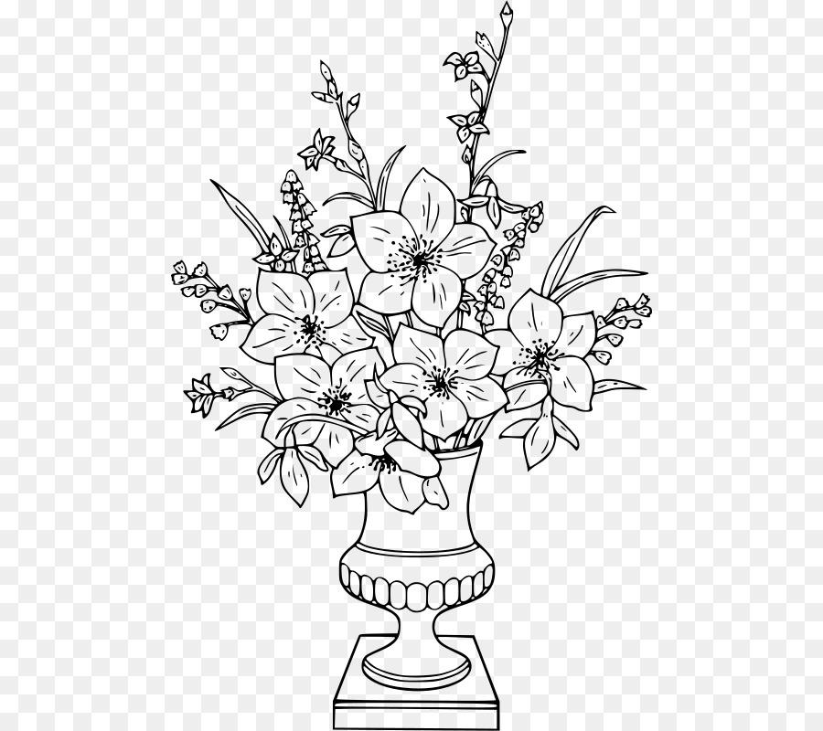 Coloring Book Vase Drawing Flower Vase Png Download 526800
