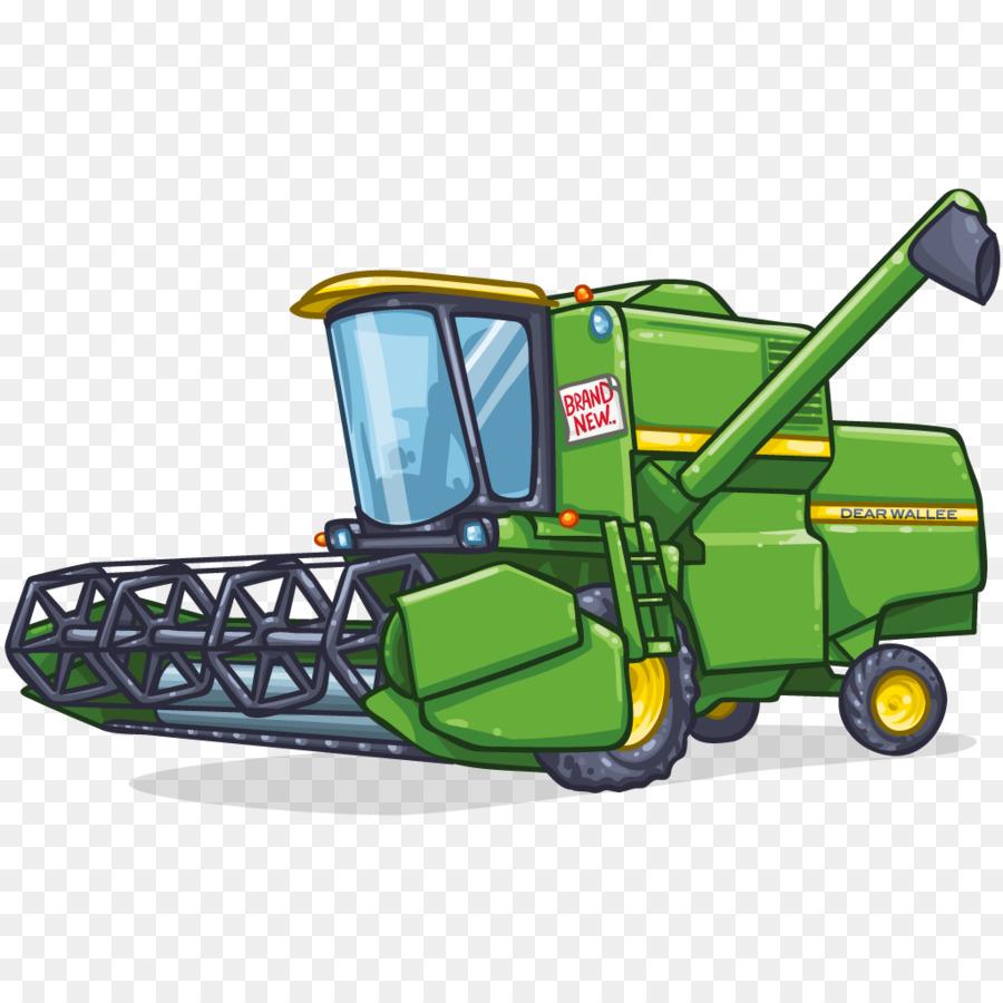 Cartoon Tractor Corn Picker : Combine harvester john deere agriculture drawing clip art
