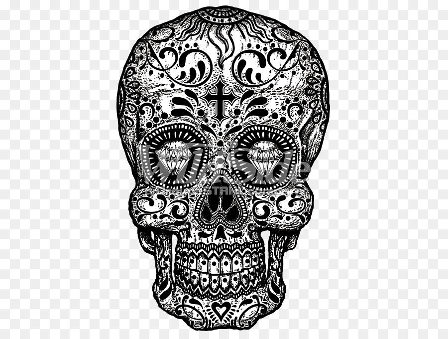 Calavera Día de Muertos Cráneo T-shirt de Caramelo - el azúcar ...