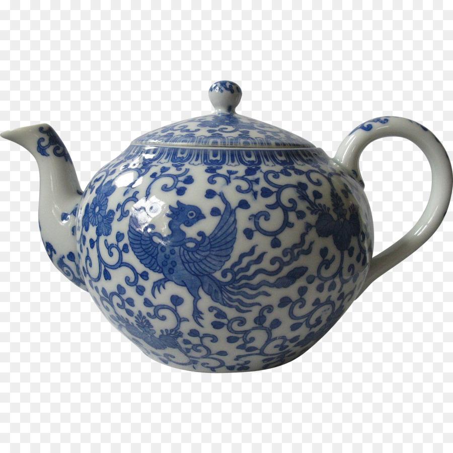 Teekanne Blau Und Weiss Keramik Porzellan Wasserkocher Tee Png