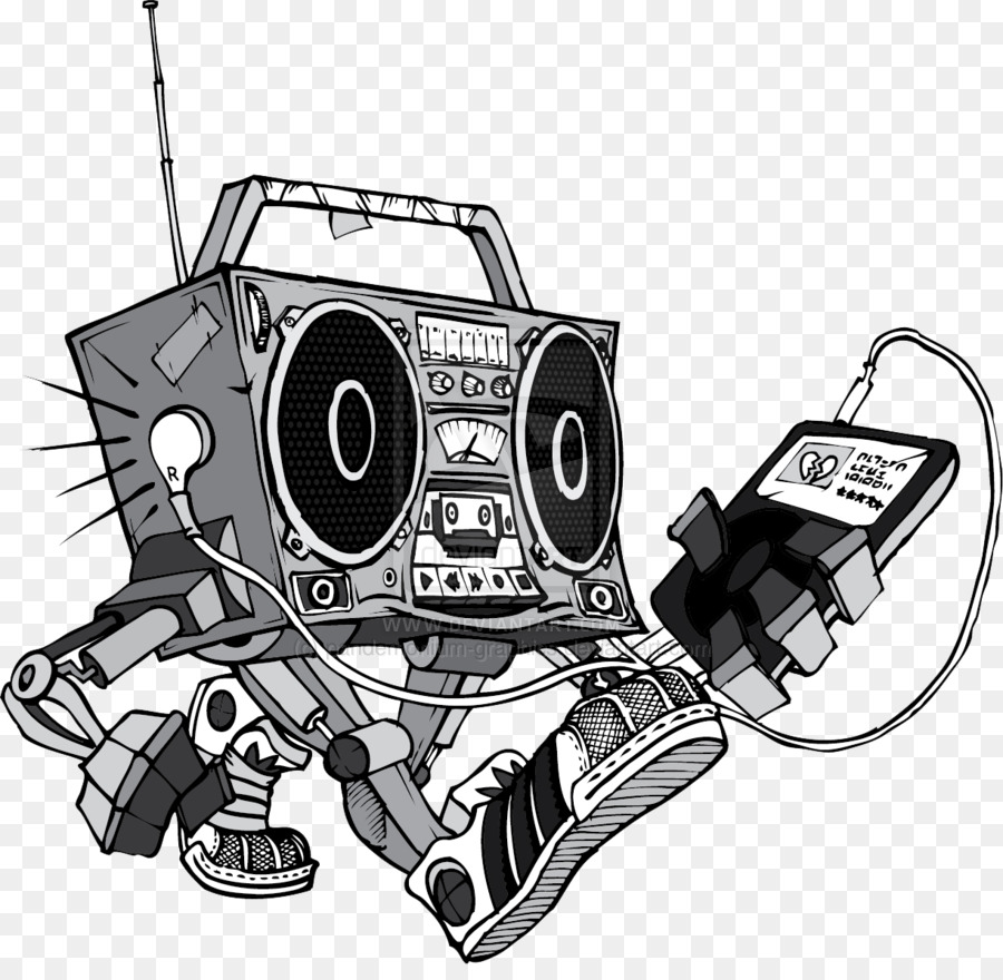 Microphone Boombox Drawing Tattoo - vector t shirt hiphop ...