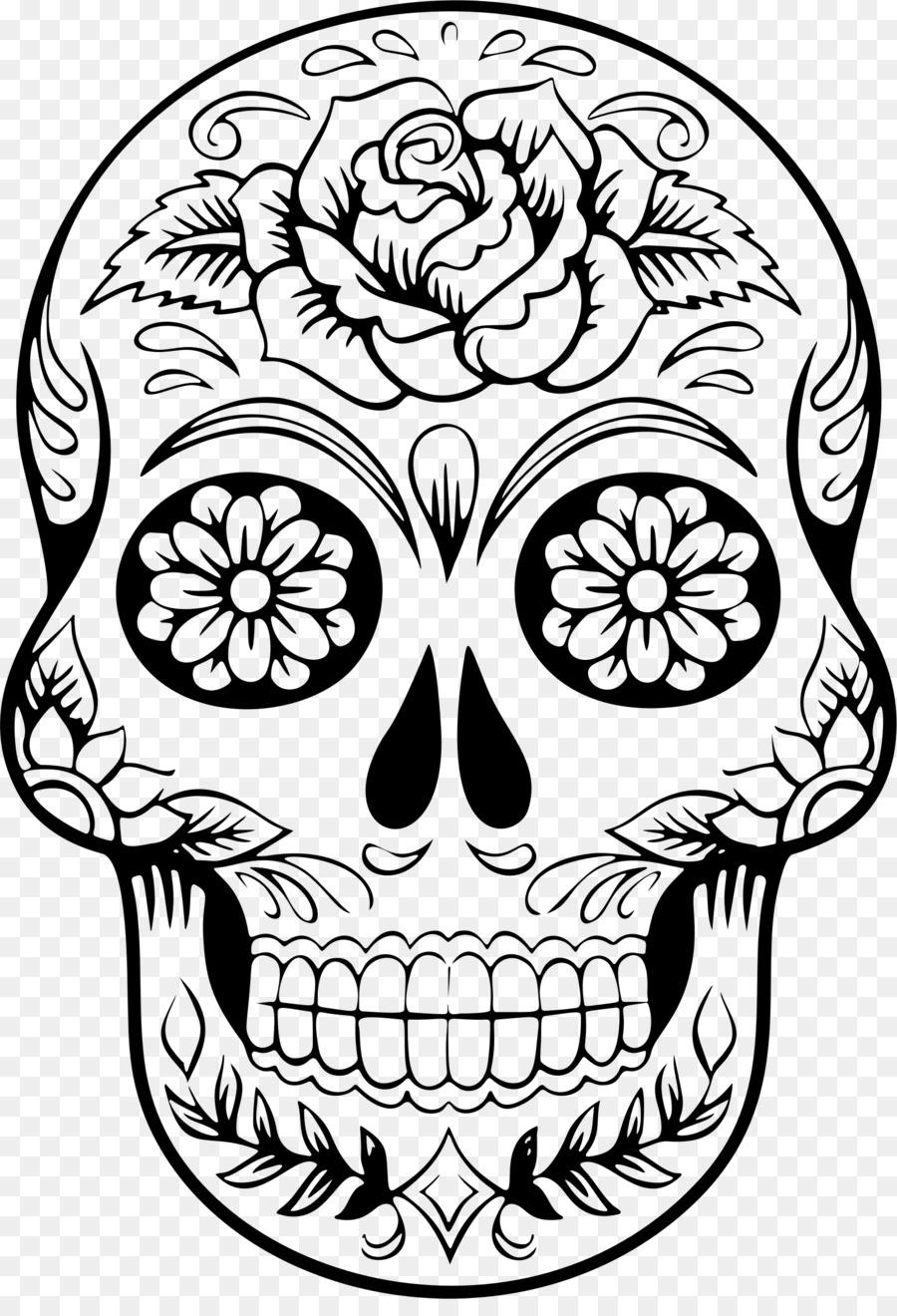 Calavera Skull Day of the Dead Clip art - color skull png download ...