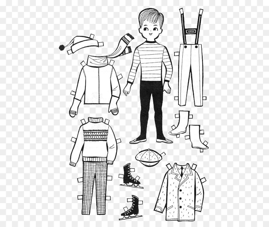 Muñeca de papel libro para Colorear de Niño - niños de papel de ...