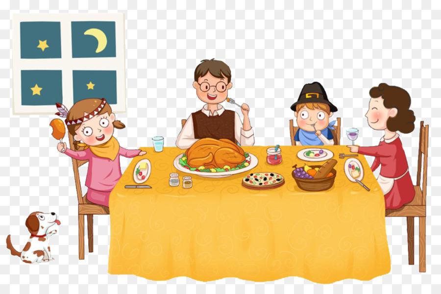 Анимация семья за столом, мужчине