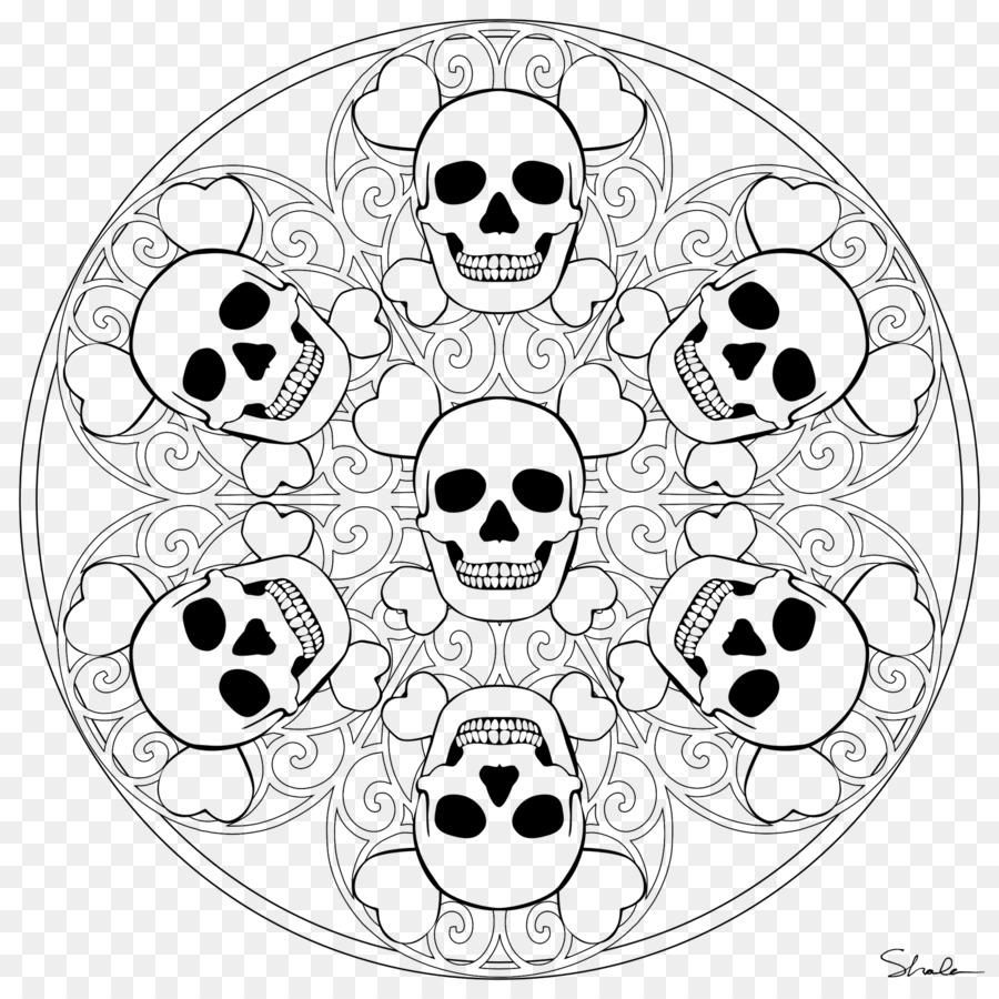 Calavera Mandala libro para Colorear de Niño Cráneo - niño png ...