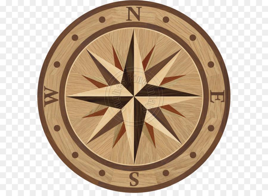 Wood Flooring Floor Medallions Hardwood Round Compass Png Download