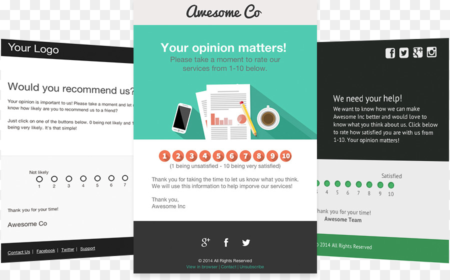 template email survey methodology responsive web design customer