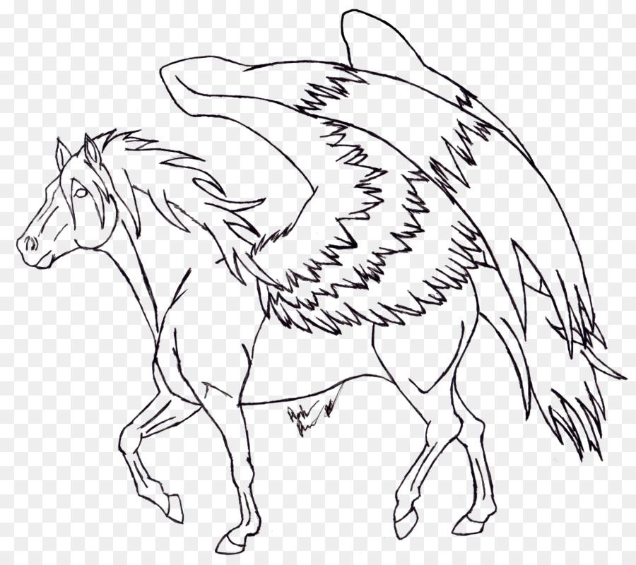 Arte de línea de Dibujo de libro para Colorear de Caballos - pegasus ...