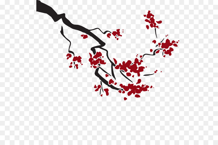 Cherry Blossom Cerasus Branch Sweet Cherry Wall Decal Vector
