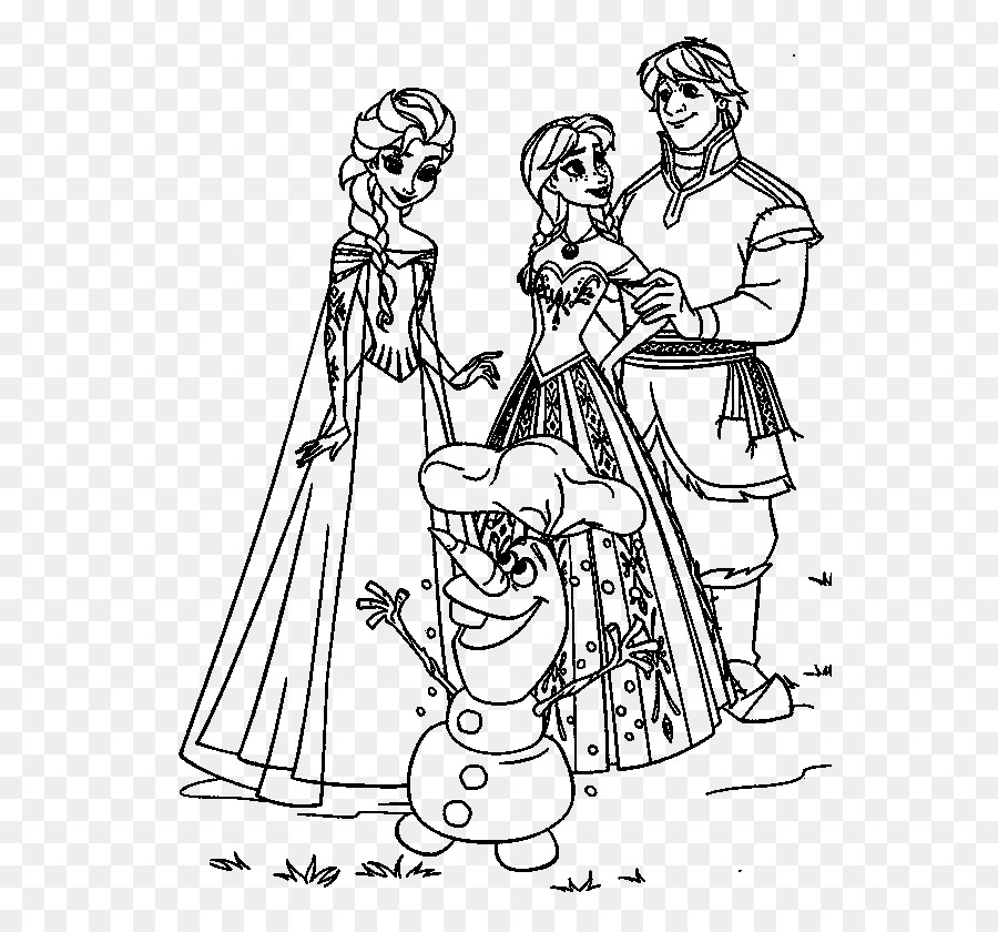 Elsa Anna Olaf Coloring Book Frozen Serene Png Download 600840