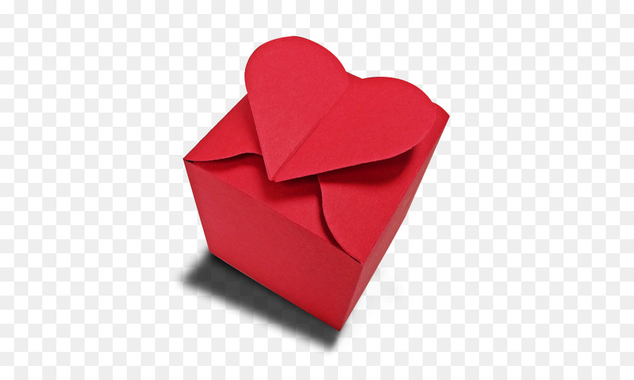 Paper Valentines Day Origami Heart Red Content Box Png Download