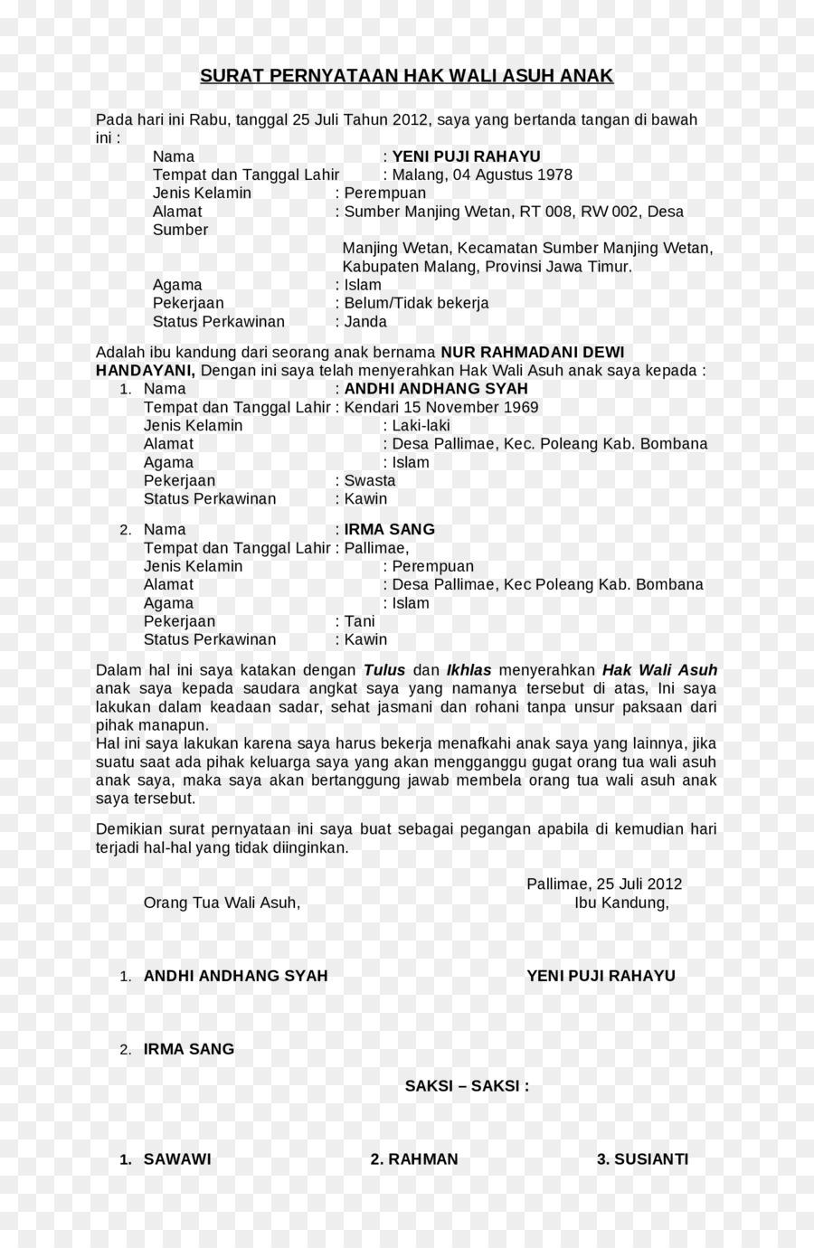 Documento De Aprobación De Los Derechos Del Niño De Divorcio ...