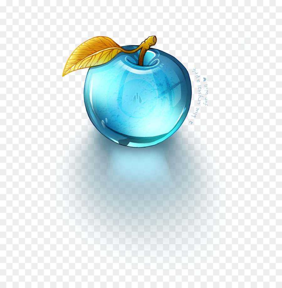 crystal glass apple paperweight blue - crystal png download - 703