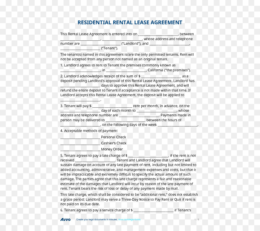 Document Rental Agreement Contract Lease Application For Employment