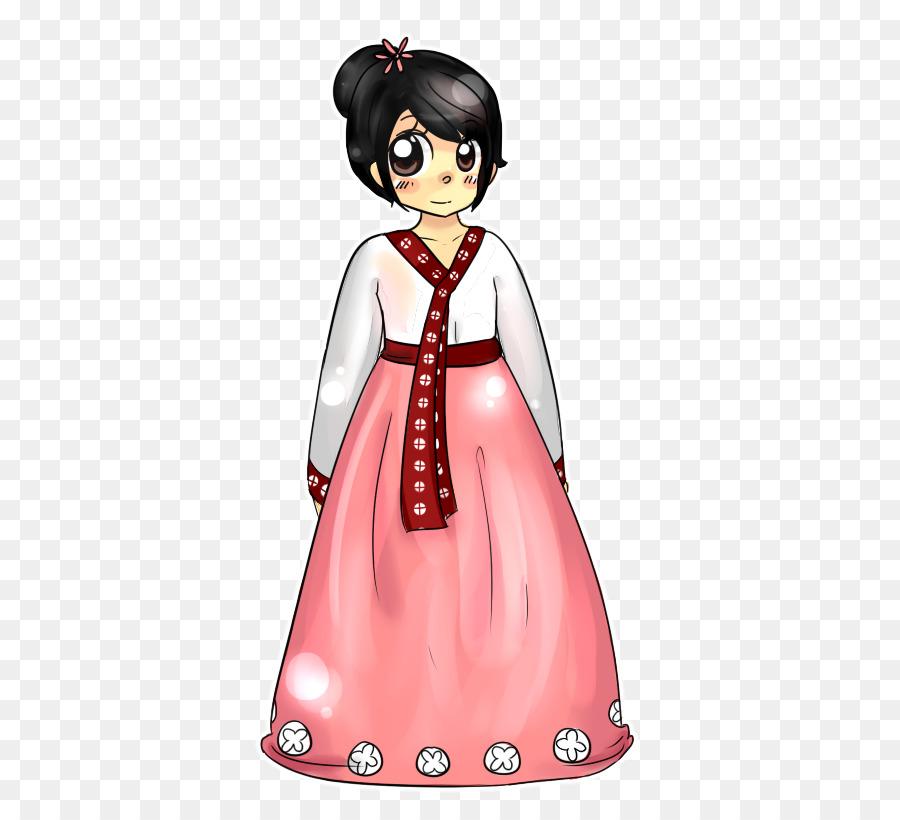 Corea del Hanbok Vestido de traje Folklórico de Dibujo - vestido ...