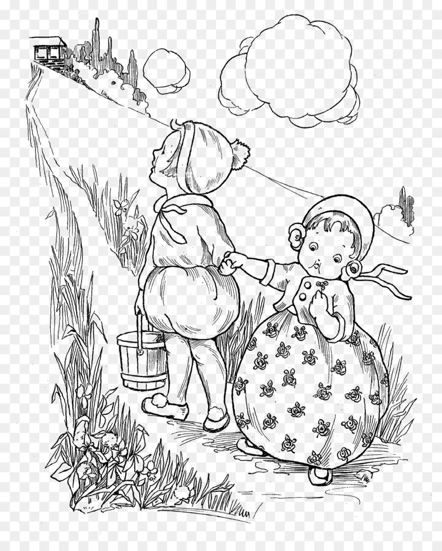 Jack y Jill Línea de arte de Clip art - rima Formatos De Archivo De ...