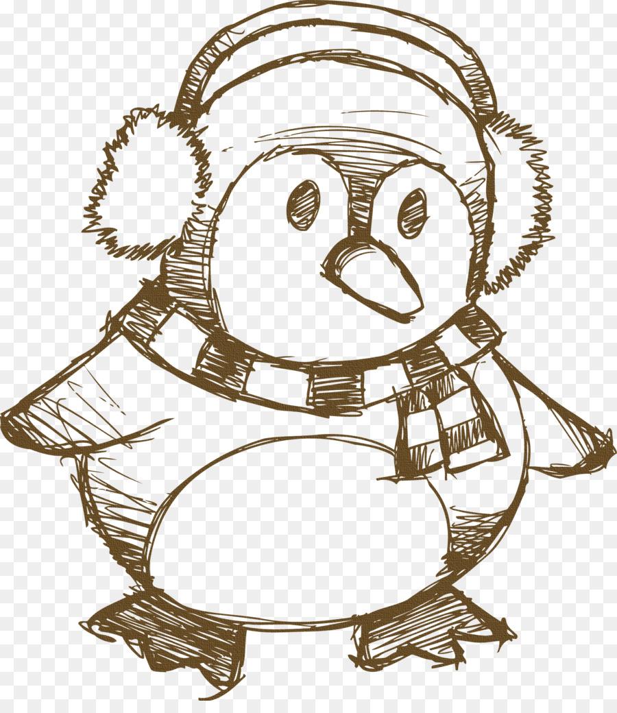 Pingüino De Dibujo De Reno De La Navidad - pingüino de navidad ...