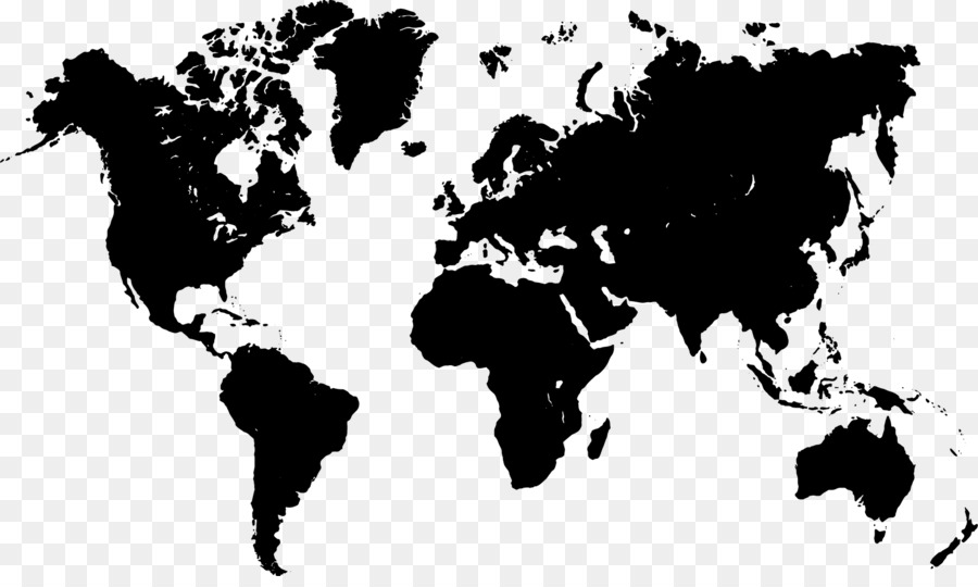 World Map Stencil Silhouette Monochrome Photography Png