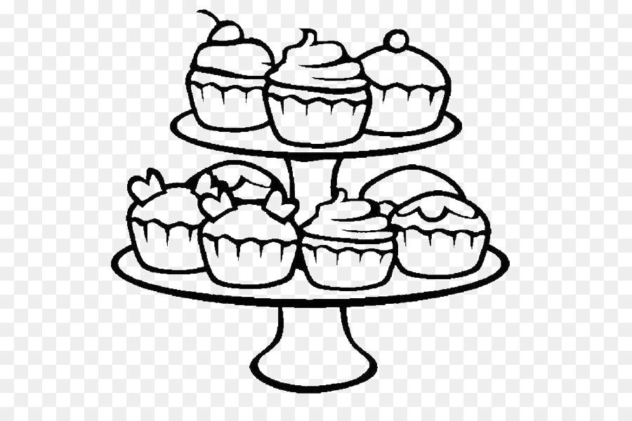 Gambar Cupcake Kue Ulang Bakery Buku Mewarnai Unduh Garis Gambar