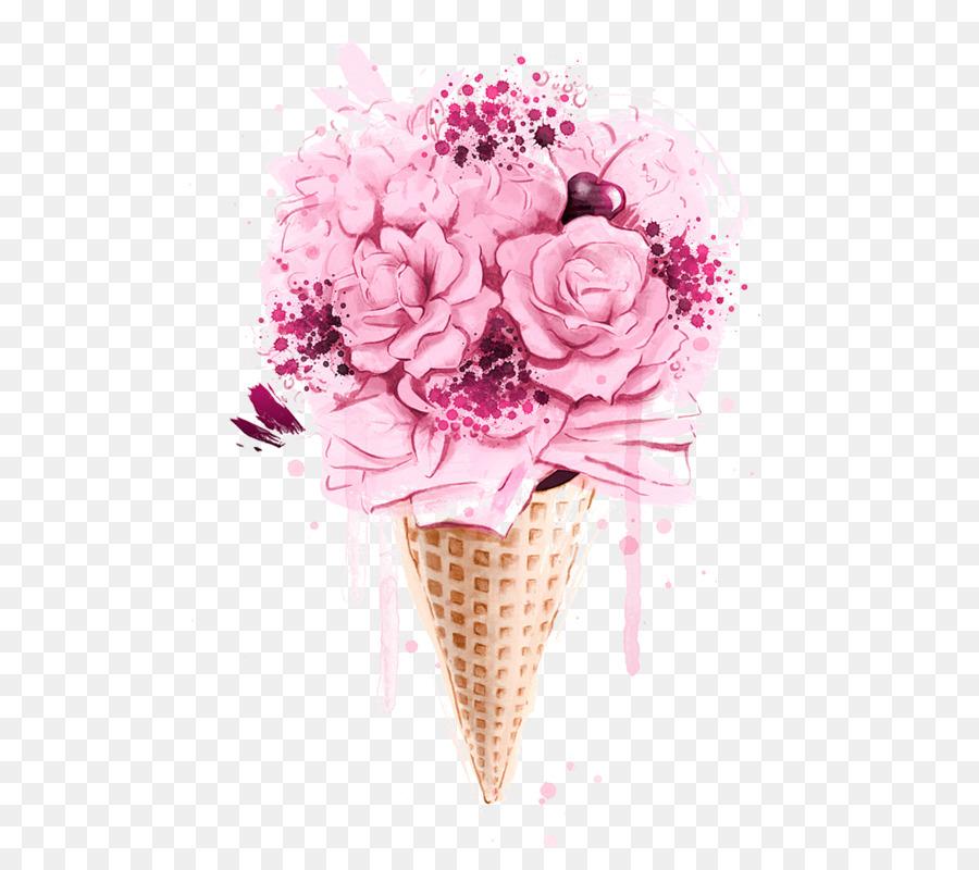 Ice Cream, Iced Coffee, Cream, Pink, Flower PNG