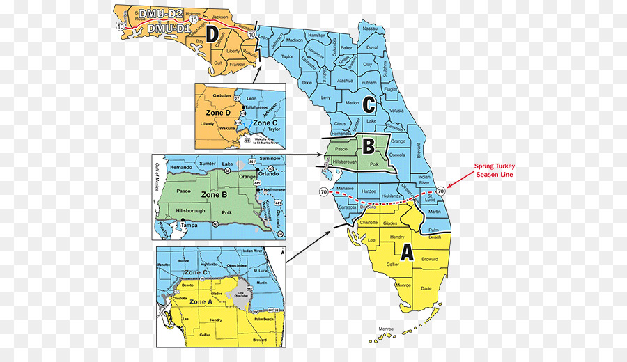 Florida Time Zone Map Florida Hunting season Time zone Map   map png download   600*509  Florida Time Zone Map