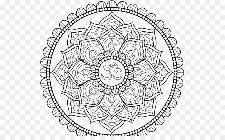Mandala Coloring Book Om Symbol Om Png Download 577 544 Free