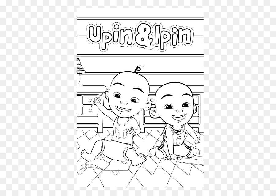 Upin Black And White Book Line Art