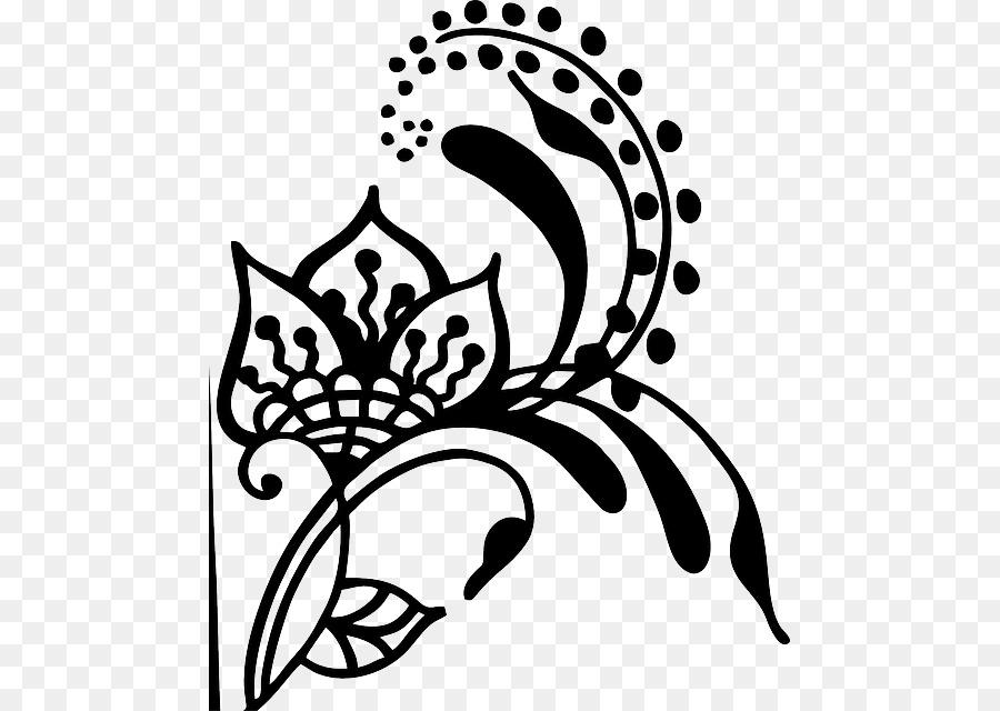 Henna Mehndi Gambar Clip Art Bunga Dan Pusaran Air Unduh Seni
